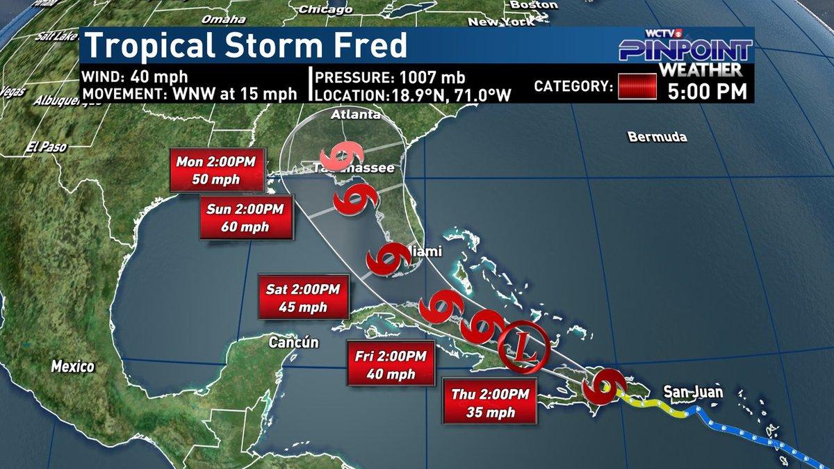 Tropical Storm Fred Advisory - 5 p.m. Wednesday, Aug. 11