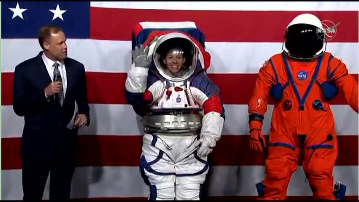 NASA revealed the new looks on Tuesday, an upgrade to the classic suits worn by Apollo-era astronauts in the 1960s and 70s. (Source: NASA via CNN)