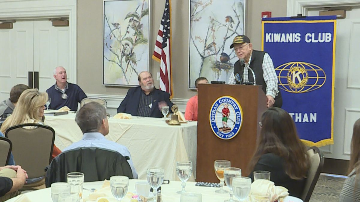 97-year-old, Roger Spooner, was a First Loader on the USS Yorktown during World War II.  He spoke to the Dothan Kiwanis Club on December 4, 2019. (Source: WTVY)