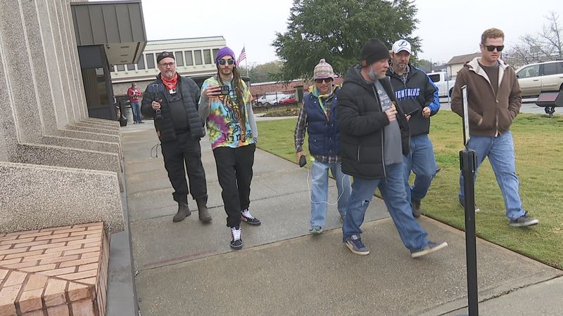 A group of First Amendment Auditors leave the Houston County Tower on December 16, 2020