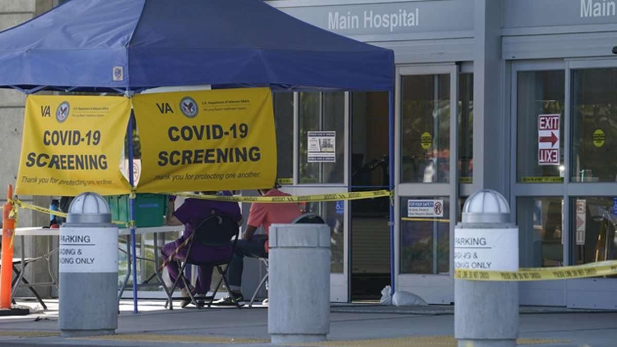 A COVID-19 screening site stands without anyone to be tested outside the VA Long Beach...