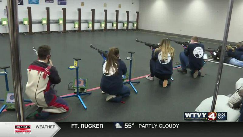 EHS JROTC rifle team members demonstrating the new range