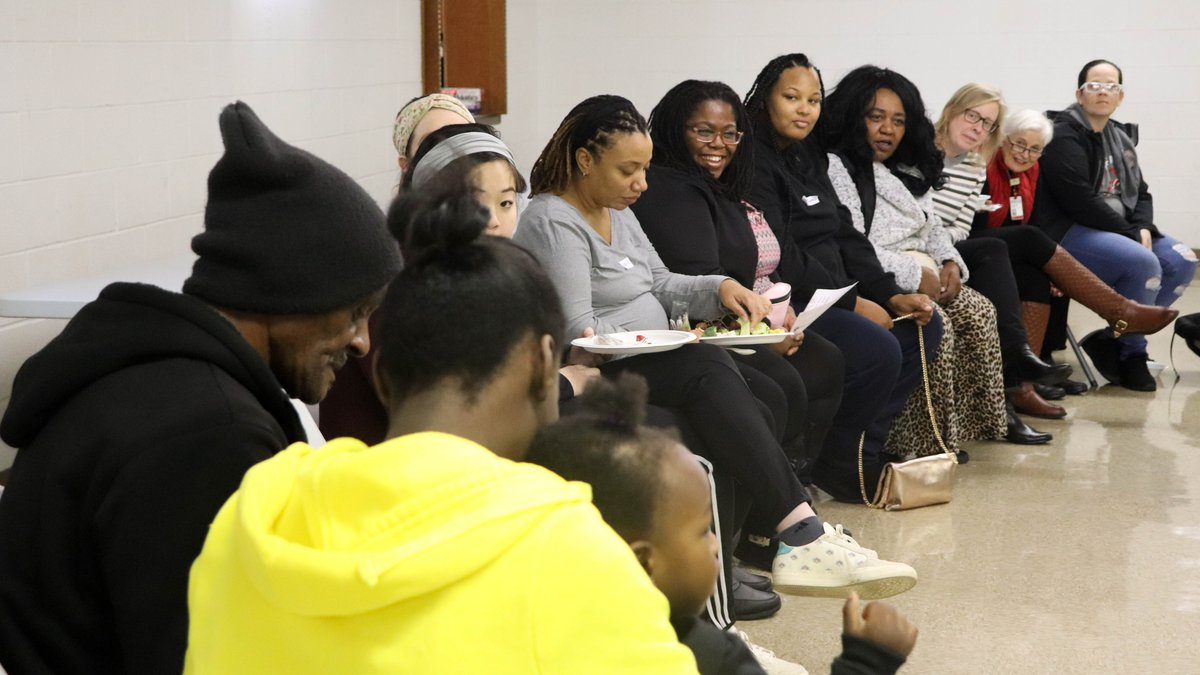 """Women at Moms2B participate in """"sister circle"""" to get to know each other. The program offers..."""