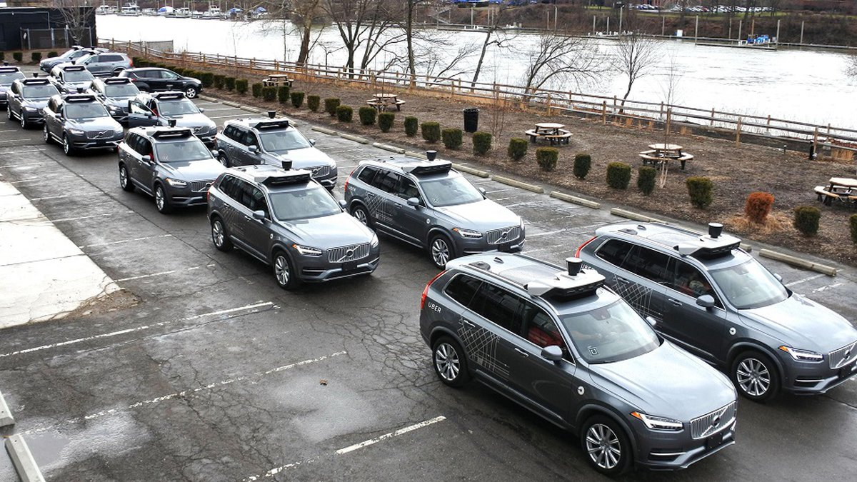 Photo taken on March 7, 2018, in Pittsburgh, Pennsylvania, shows self-driving vehicles used for...