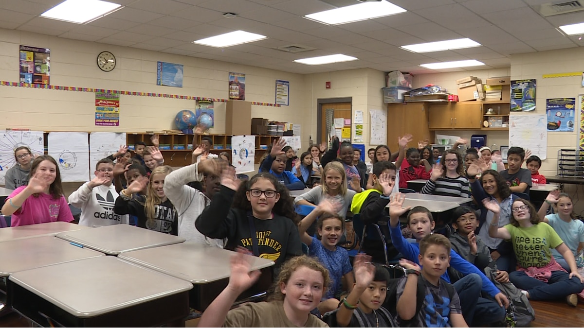 Students at Harrand Elementary School talked weather with meteorologist Zack Webster on Friday morning.