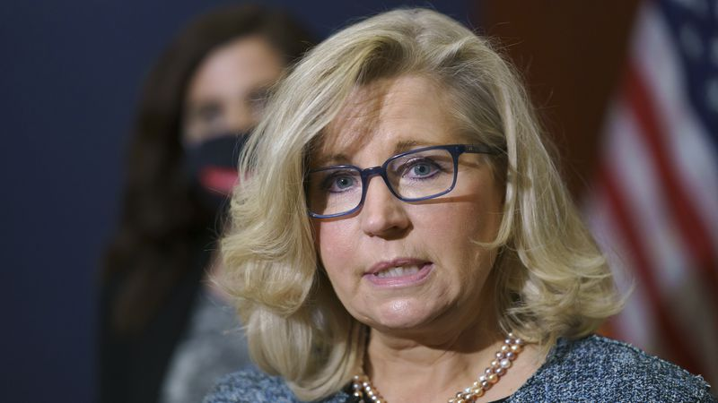 FILE - Rep. Liz Cheney, R-Wyo., the House Republican Conference chair, speaks with reporters...