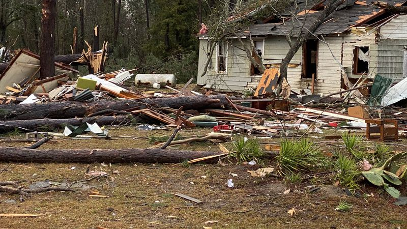 A home in Damascus, Georgia is damaged by a tornado on February 15, 2020.