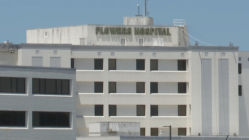 The front of Flowers Hospital in Dothan, Alabama.