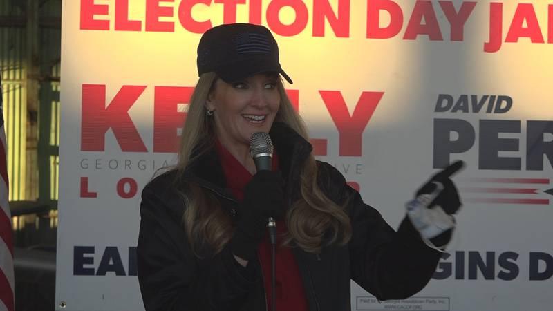 Kelly Loeffler speaking to her supporters in Bainbridge Saturday.
