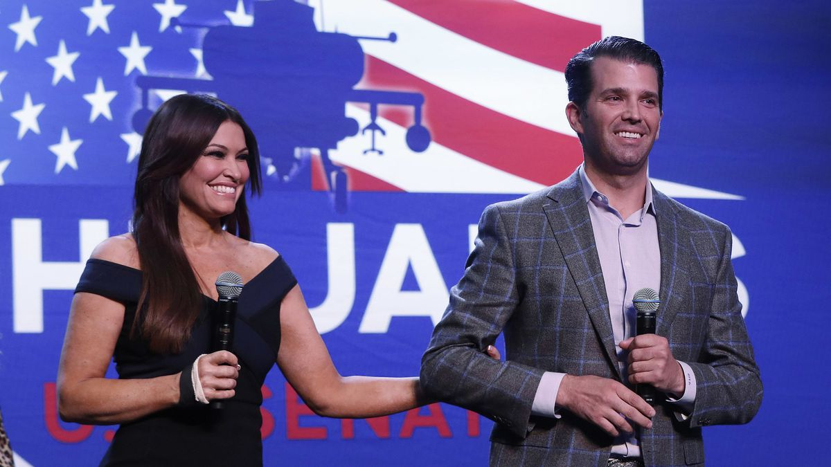 Donald Trump Jr., and Kimberly Guilfoyle appear at a rally for Republican U.S. Senate candidate John James in Pontiac, Mich., Wednesday, Oct. 17, 2018.