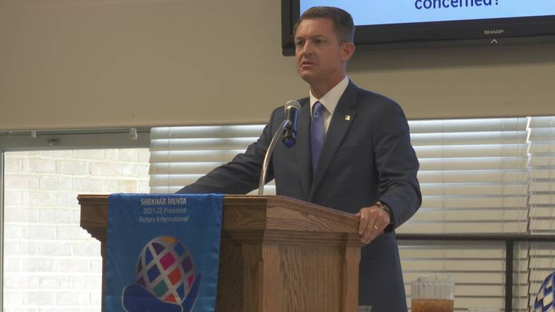State Representative Wes Allen (R-Troy) speaks to the Dothan Rotary Club on August 9, 2021.  He...
