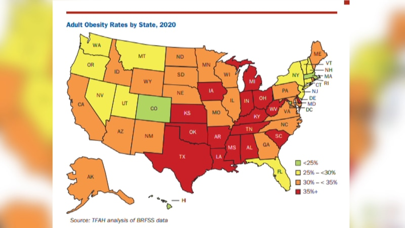 The TFAH 2020 Obesity Rate Report shows Alabama in the significantly high risk for obesity in...