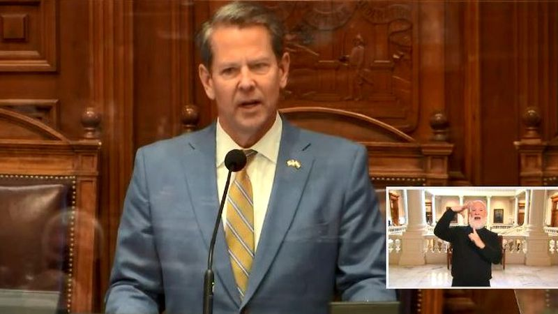 Georgia Gov. Brian Kemp delivers his State of the State address on Jan. 14, 2021.
