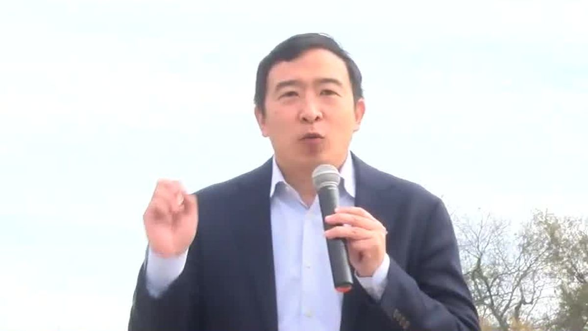 Former Democratic presidential candidate Andrew Yang made a stop in Columbus Sunday.