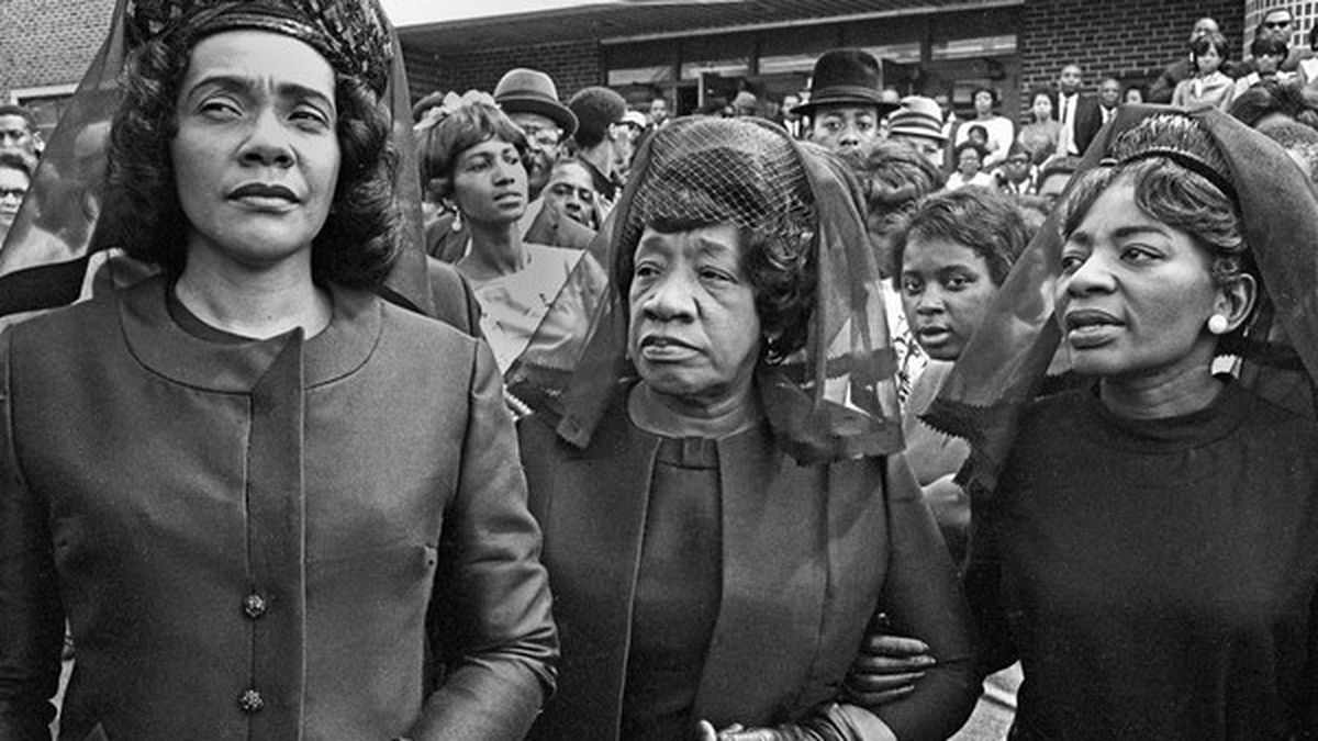 Martin Luther King's widow Coretta Scott King; his mother, Alberta King; and his sister,...