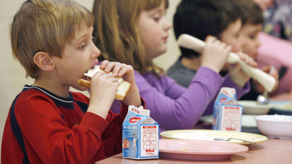 This Wednesday, Feb. 3, 2010 photo shows students eating lunch at Sharon Elementary School in Sharon, Vt.