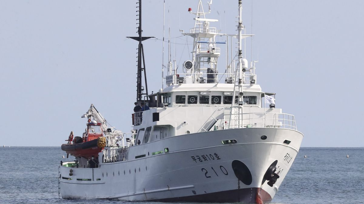 A South Korea's government ship for a fishery guidance, is seen near Yeonpyeong island, South Korea, Thursday, Sept. 24, 2020. According to Seoul, a man disappeared from the government ship that was checking on potential unauthorized fishing in an area south of the boundary on Monday, a day before he was found in North Korean waters.