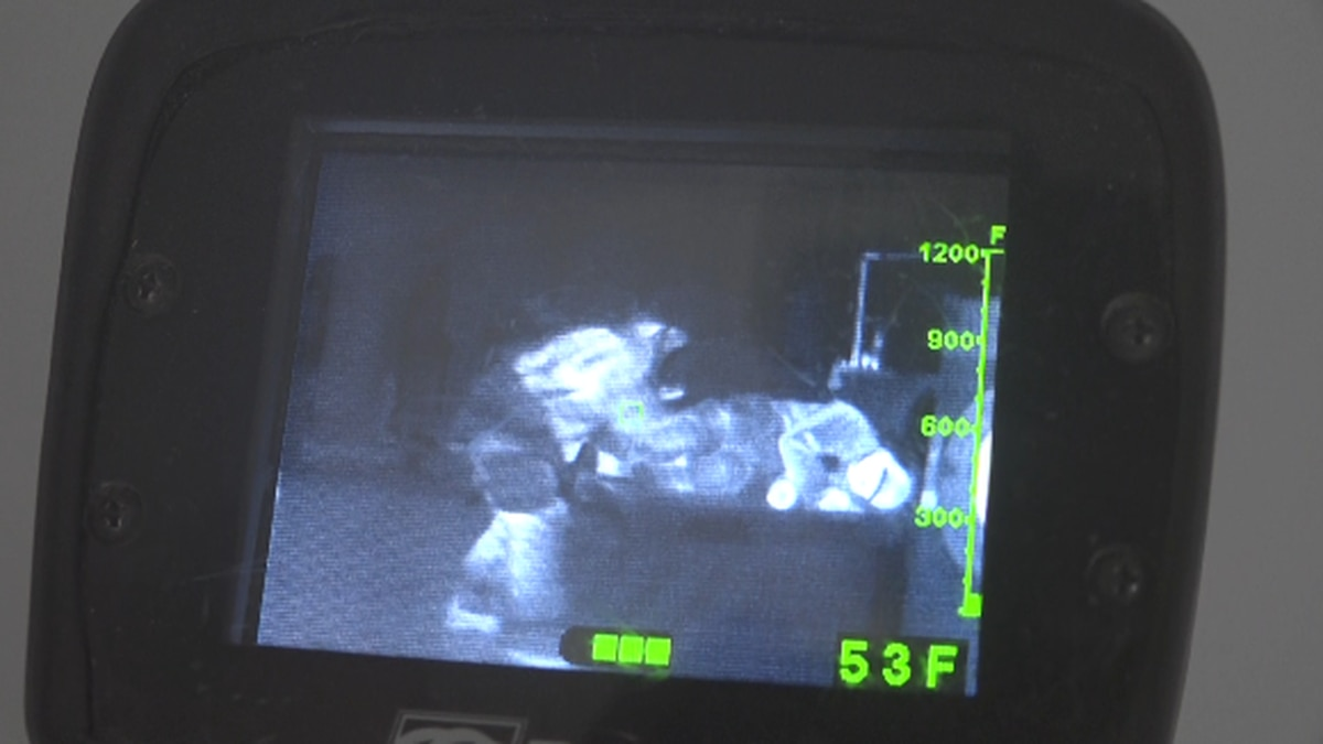 The Staunton Fire Department demonstrates how they use thermal imaging cameras to help navigate smoke-filled rooms. | Credit: WHSV