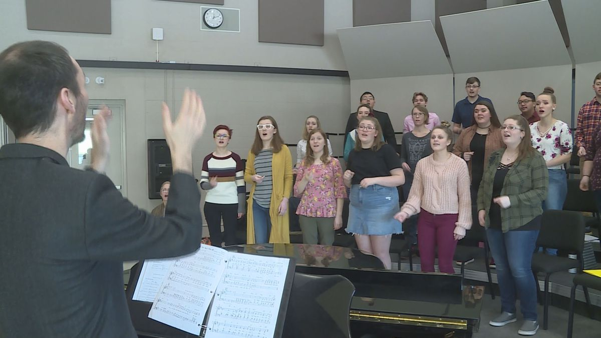 UW-Stevens Point at Wausau concert choir students  practice 'They Can't Take That Away From...