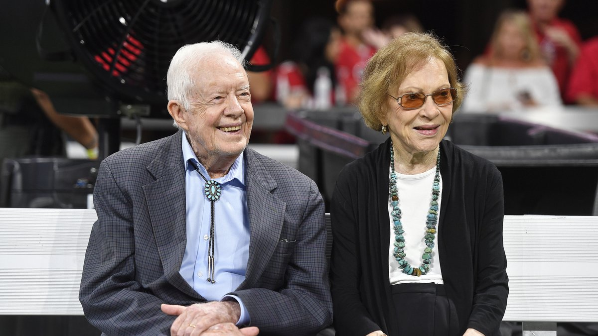 FILE- In this Sept. 30, 2018 file photo, former President Jimmy Carter and Rosalynn Carter are...
