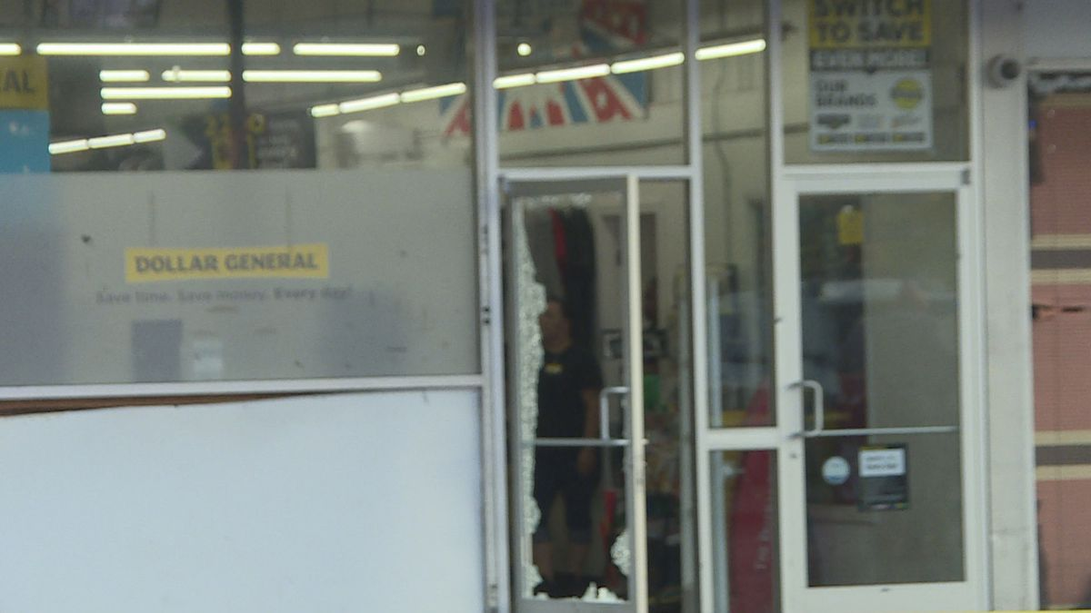 Door of Dollar General in Dothan blown out in shooting that wounded a man.