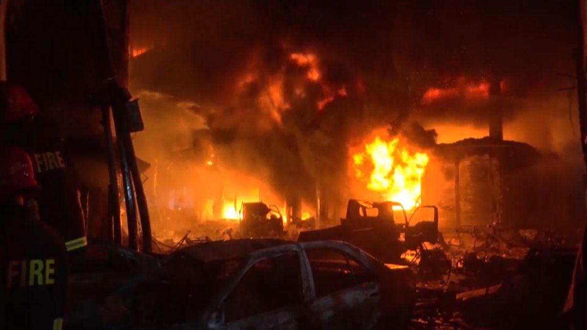 A devastating fire raced through densely packed buildings in a centuries-old shopping district in Bangladesh's capital, killing at least 70 people, officials and witnesses said Thursday.<br />Courtesy: APTN / CBS Newspath