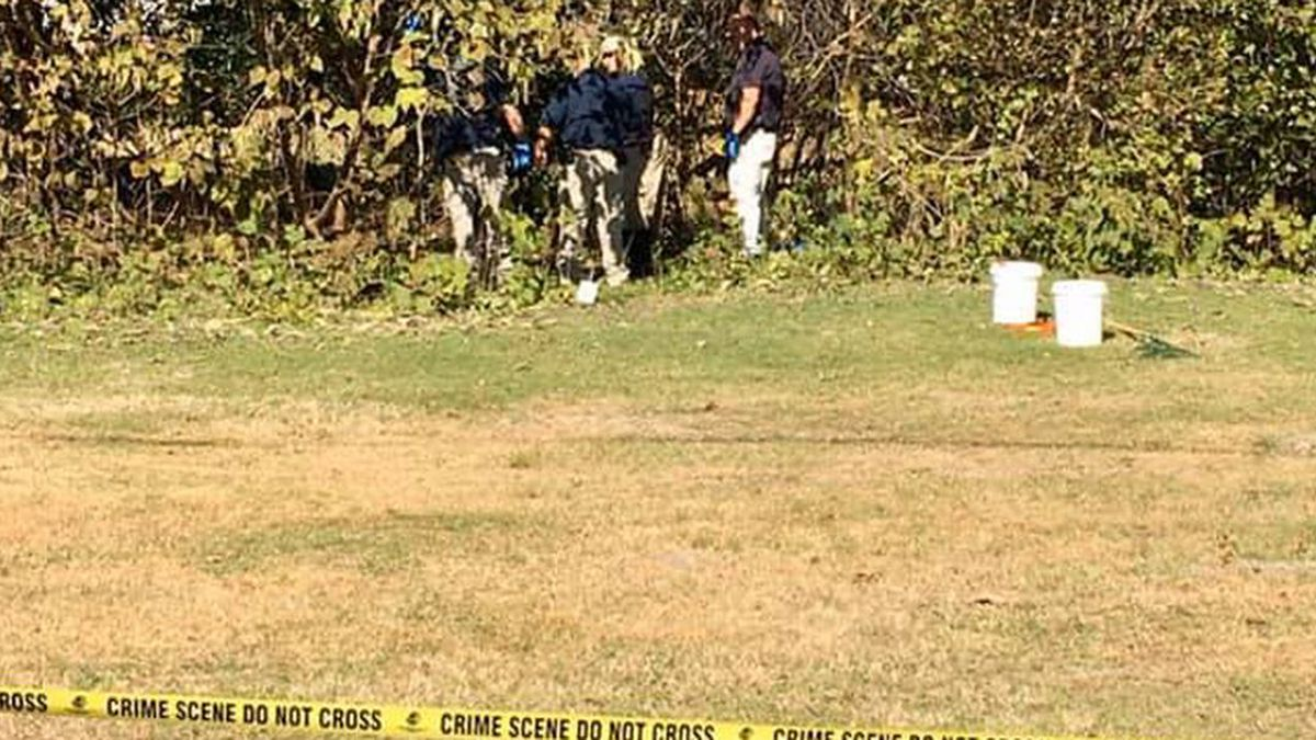 Investigators on the scene of a skeletal discovery near downtown Eufaula. (Source: Eufaula...
