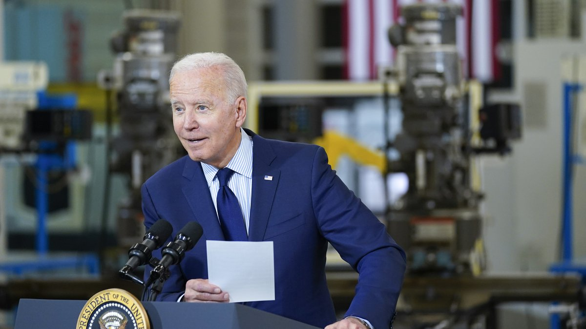 President Joe Biden delivers remarks on the economy at the Cuyahoga Community College...