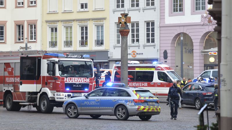 A square is blocked by the police in Trier, Germany, Tuesday, Dec. 1, 2020. German police say...