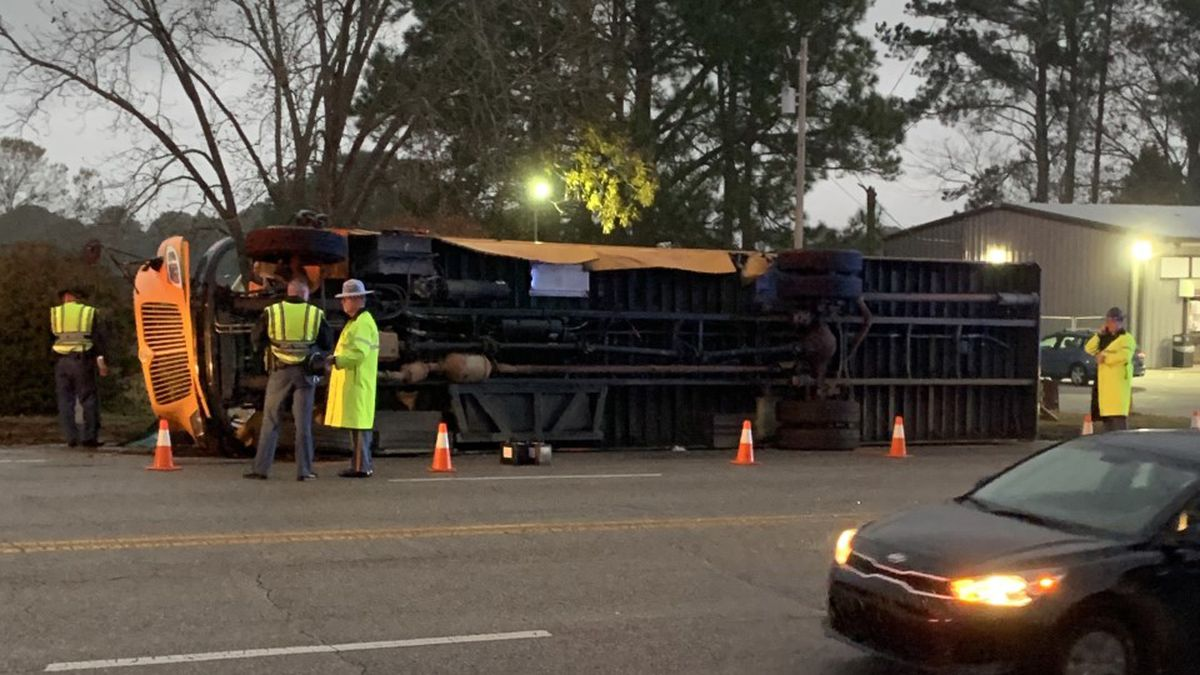 A school bus overturned in an accident in Enterprise, Ala. Wednesday afternoon.