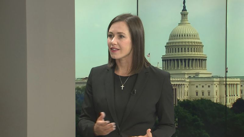 Katie Boyd Britt announces her U.S. Senate candidacy during a News 4 interview that aired June...