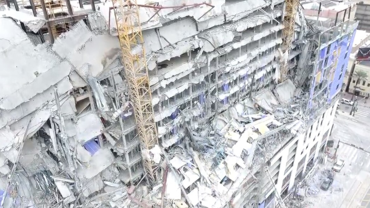 A drone captured the aftermath of the building collapse in downtown New Orleans. (Source:...