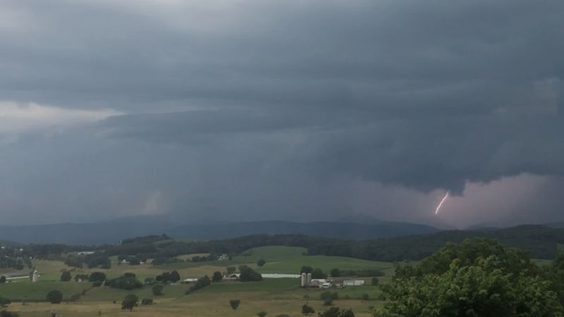 Lightning and heavy rain