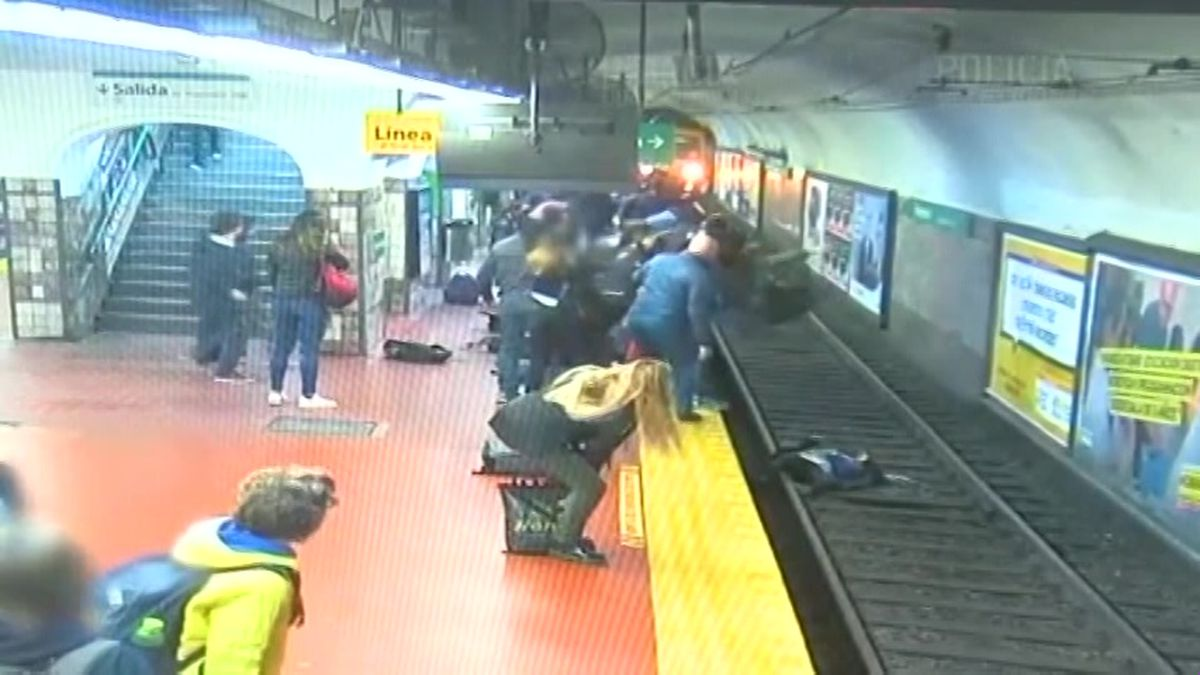 The train came to a stop just inches from the woman. (Source: Policia Nacional de Buenos Aires via CNN)