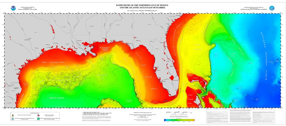 Bathymetric contours of the Northern Gulf of Mexico and the Northern Bahamas.