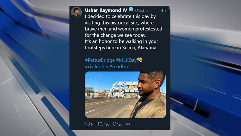 Singer/songwriter Usher visited Selma on Monday to mark MLK Day.