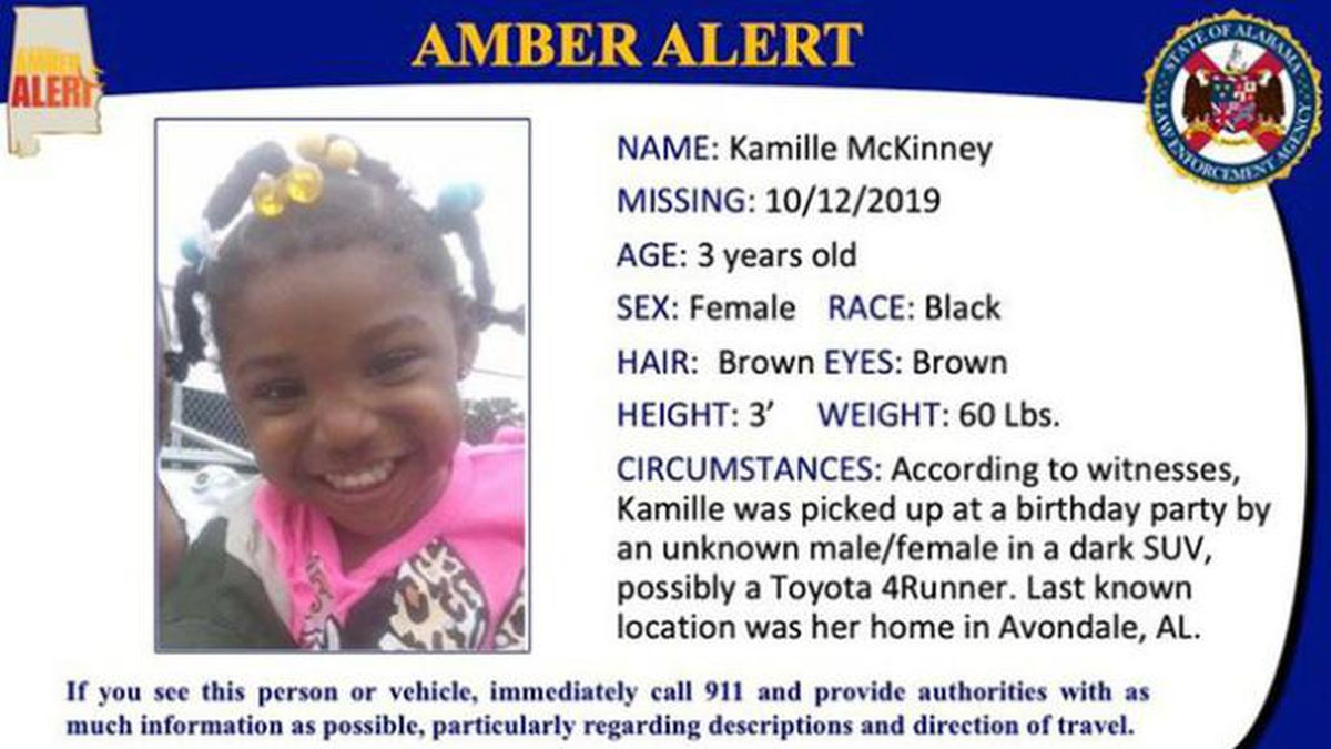 Officials in Alabama issued an Amber Alert for Kamille McKinney, 3, who police believe was...