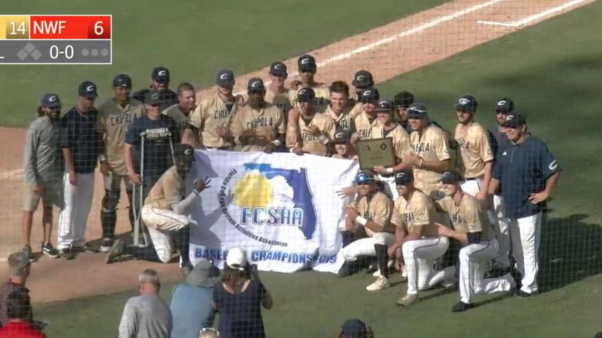 The Chipola College baseball team won a third straight FCSAA State Championship with a 14-6 win over arch-rival Northwest Florida State on May 15, 2019. (Source: Chipola College)