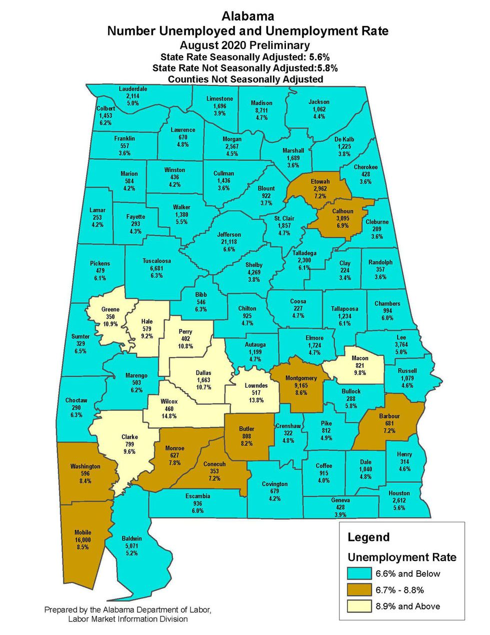 Alabama's August 2020 unemployment map by county.