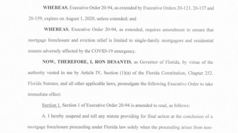 Gov. Ron Desantis signed an Executive Order extending the eviction order for Floridians.