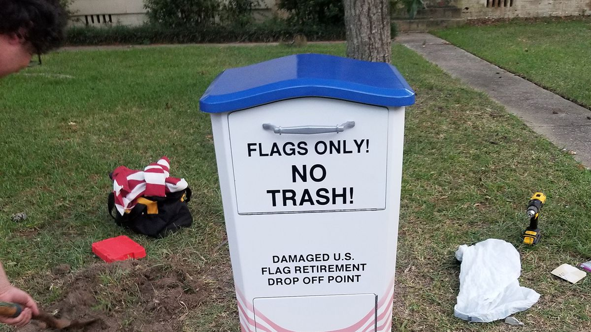 Colton Ash, a Boy Scout in Troop 38 built a flag disposal drop box for his Eagle Scout Project.