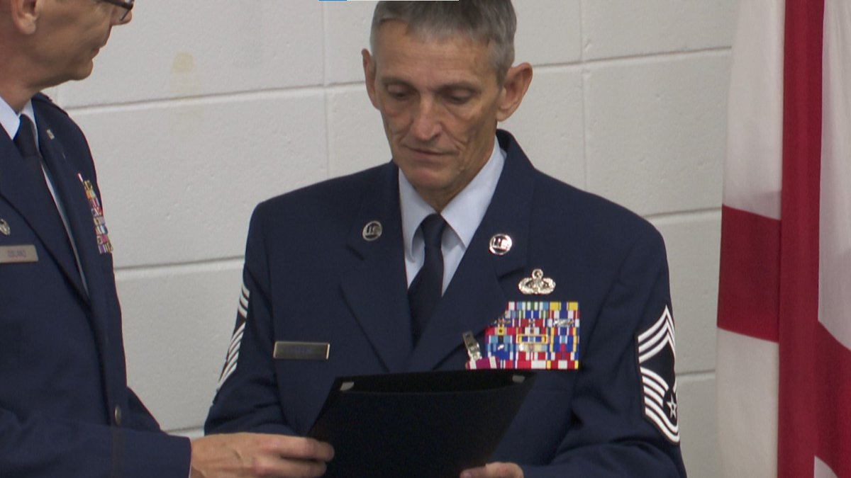 Chief Master Sergeant retires after forty years in service.
