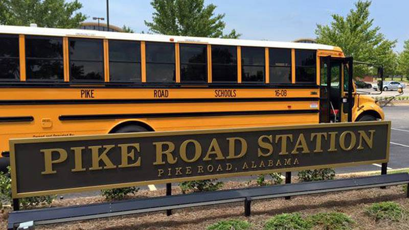 A school bus arrived at Pike Road Town Hall Tuesday. (Source: Town of Pike Road)