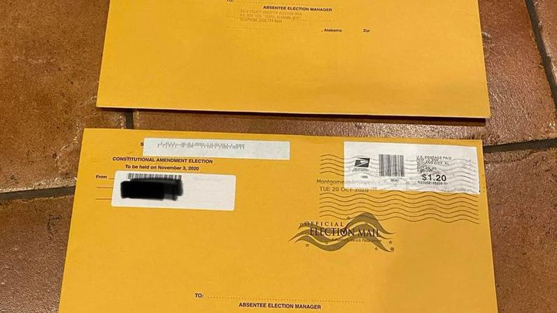 Two absentee ballots addressed to Ozark were delivered to home in Katy, Texas.