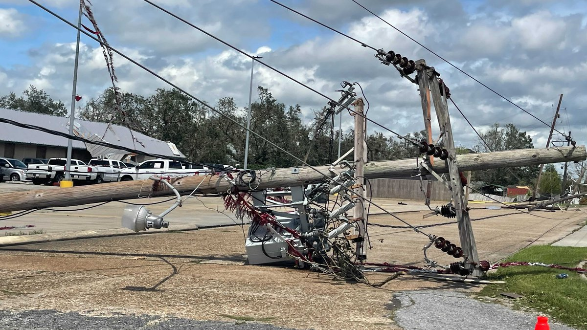 Damage from Hurricane Ida in Houma, Louisiana.