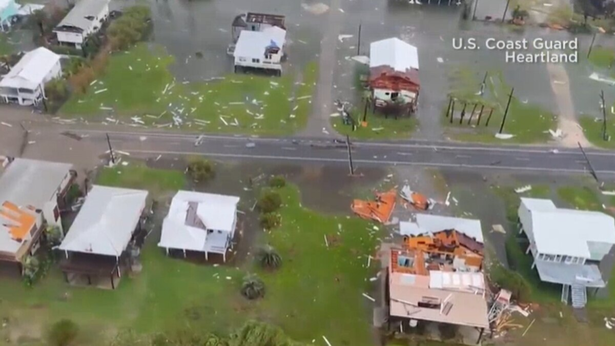 Aerial view of damage from Hurricane Ida