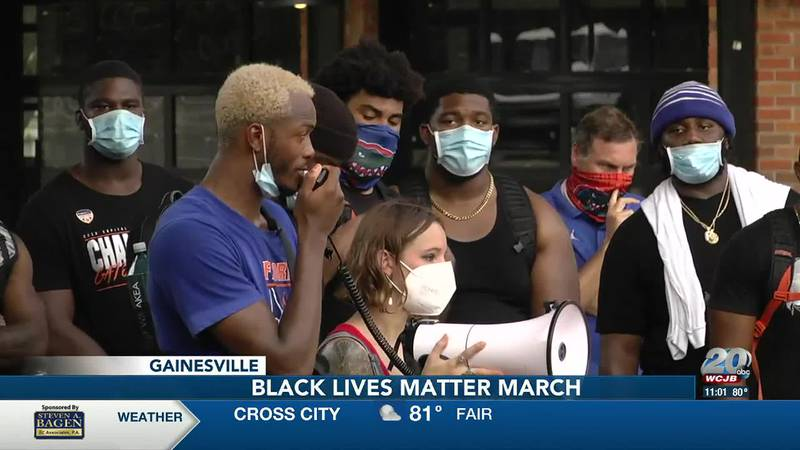 UF basketball player Scottie Lewis at a BLM protest