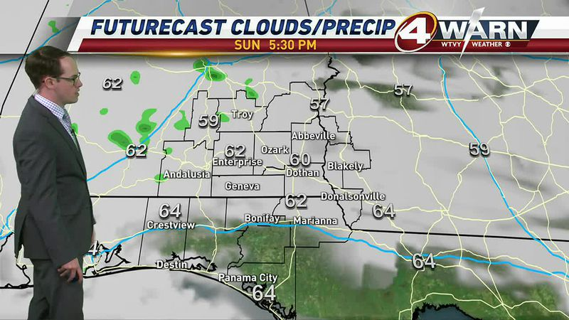 While the rain continues to hold off, cloud cover will stick around throughout our Sunday.