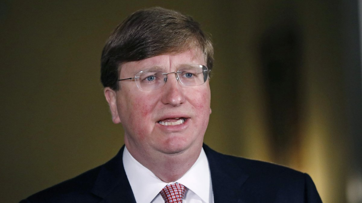 In this June 30, 2020 file photo Mississippi Republican Gov. Tate Reeves delivers a televised...