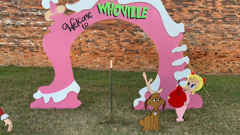 Someone stole the Grinch cut out from the downtown Enterprise Whoville display